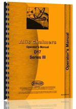 Operators Manual for Allis Chalmers D17 Tractor
