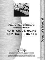 Operators Manual for Allis Chalmers HD16 Dozer Attachment