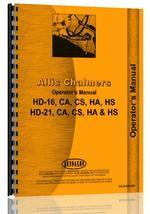 Operators Manual for Allis Chalmers HD16 Crawler