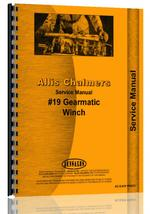 Service Manual for Allis Chalmers 19 Winch