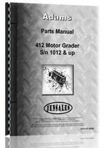 Parts Manual for Adams 412 Grader