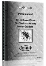 Parts Manual for Adams 550 Motor Grader #6 Snow Plow Attachment