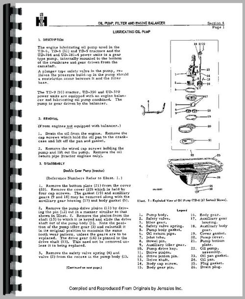 Service Manual for Adams 311 Grader Engine Sample Page From Manual