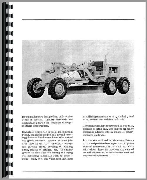 Operators Manual for Adams 330H Grader Sample Page From Manual