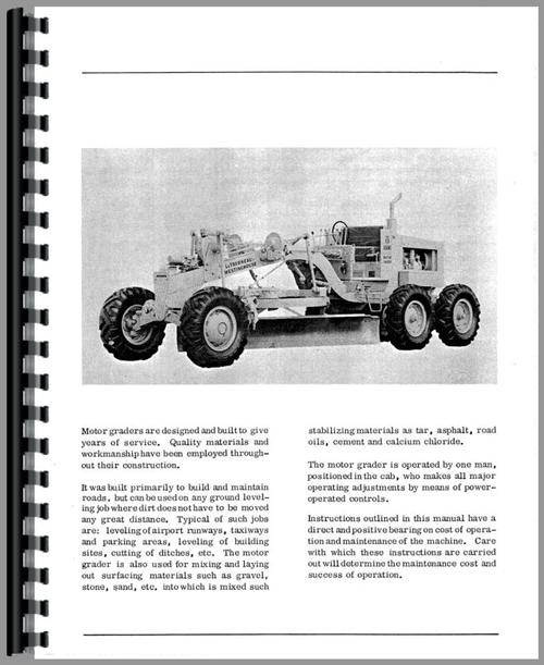 Operators Manual for Adams 440 Grader Sample Page From Manual