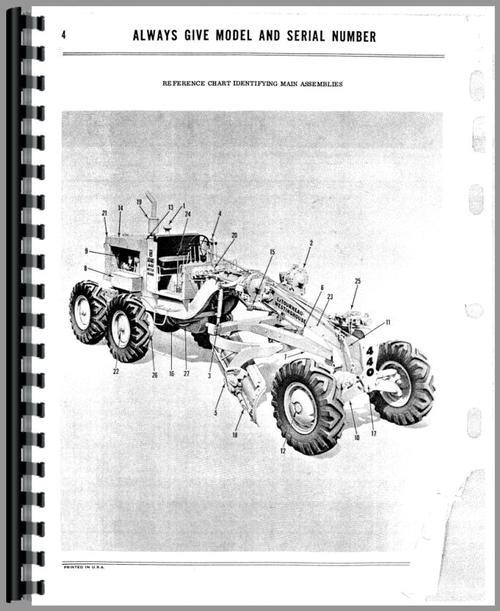 Parts Manual for Adams 440 Grader Sample Page From Manual