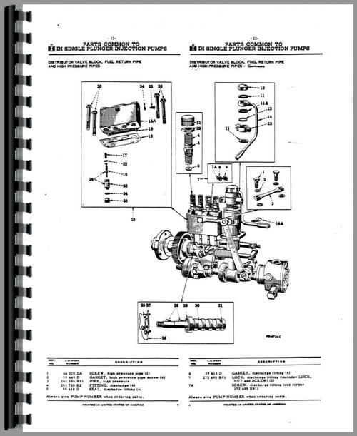 Parts Manual for Adams 512 Injection Pump Sample Page From Manual
