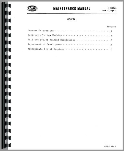 Service Manual for Adams 610 Grader Sample Page From Manual