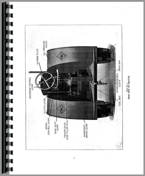 Operators Manual for Allis Chalmers 15-25 Tractor Sample Page From Manual
