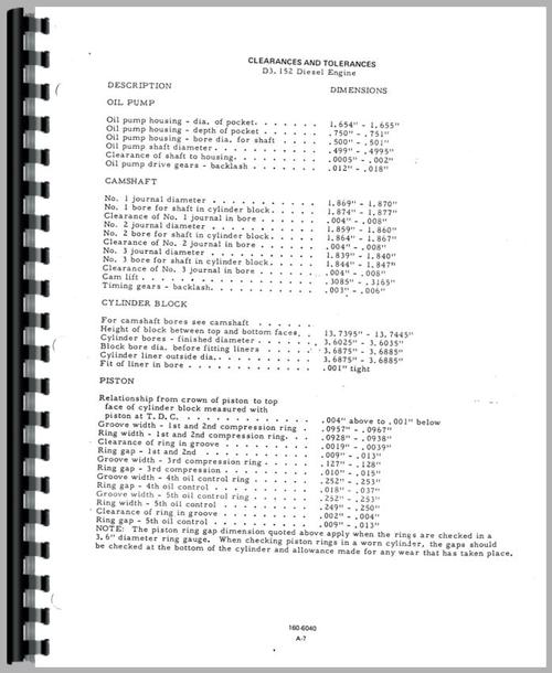 Service Manual for Allis Chalmers 160 Tractor Sample Page From Manual