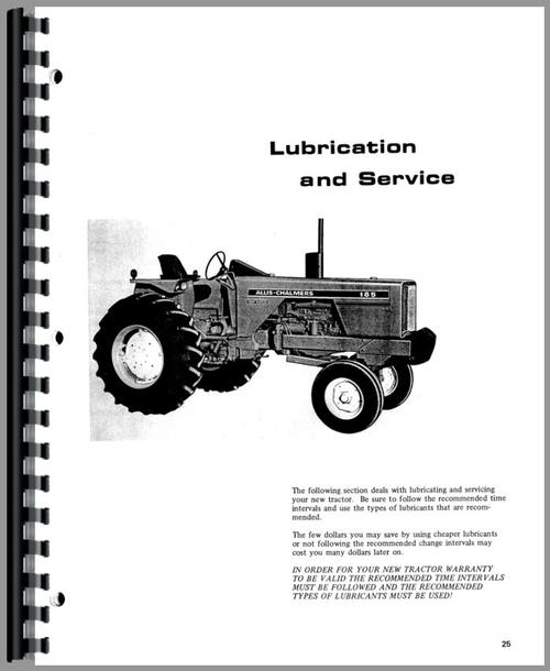 Operators Manual for Allis Chalmers 185 Tractor Sample Page From Manual