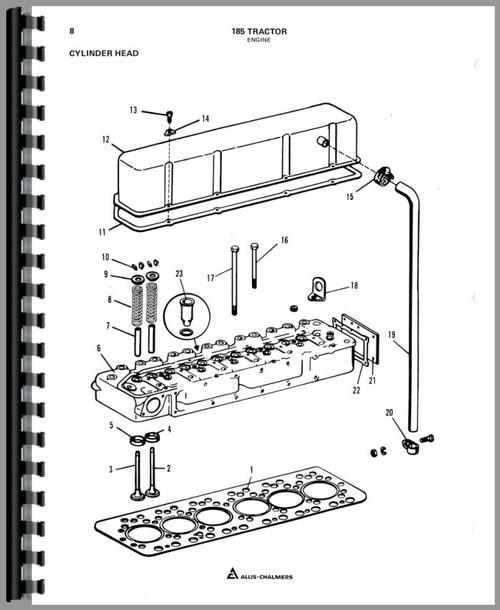 Parts Manual for Allis Chalmers 185 Tractor Sample Page From Manual