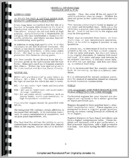 Operators Manual for Allis Chalmers 190 Tractor Sample Page From Manual
