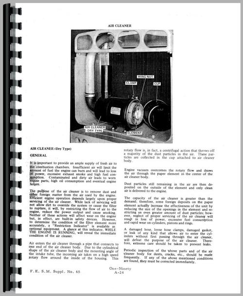 Service Manual for Allis Chalmers 190 Tractor Sample Page From Manual