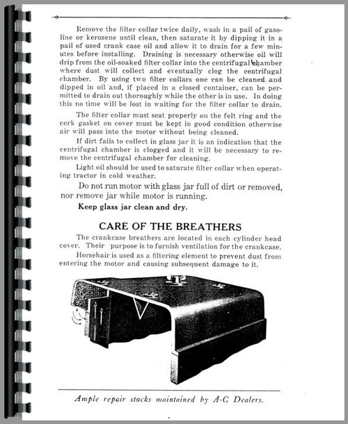 Operators Manual for Allis Chalmers 20-35 Tractor Sample Page From Manual