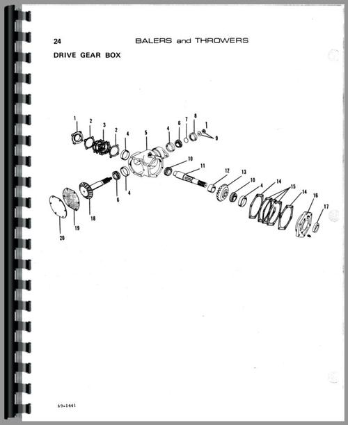 Parts Manual for Allis Chalmers 20 Bale Thrower Sample Page From Manual