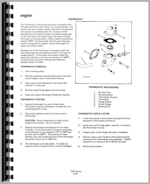 Service Manual for Allis Chalmers 200 Tractor Sample Page From Manual