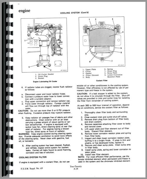 Service Manual for Allis Chalmers 220 Tractor Sample Page From Manual
