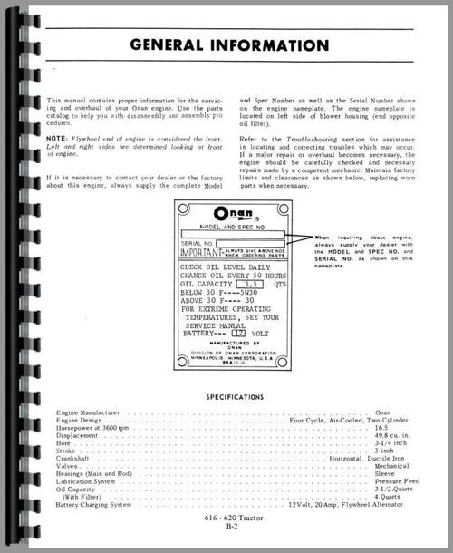Service Manual for Allis Chalmers 620 Lawn & Garden Tractor Sample Page From Manual