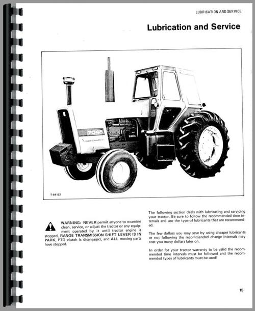 Operators Manual for Allis Chalmers 7045 Tractor Sample Page From Manual