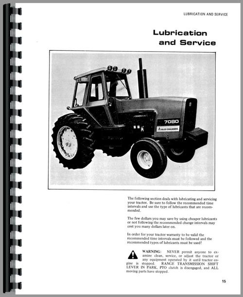 Operators Manual for Allis Chalmers 7080 Tractor Sample Page From Manual