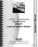 Operators Manual for Allis Chalmers 816 Lawn & Garden Tractor