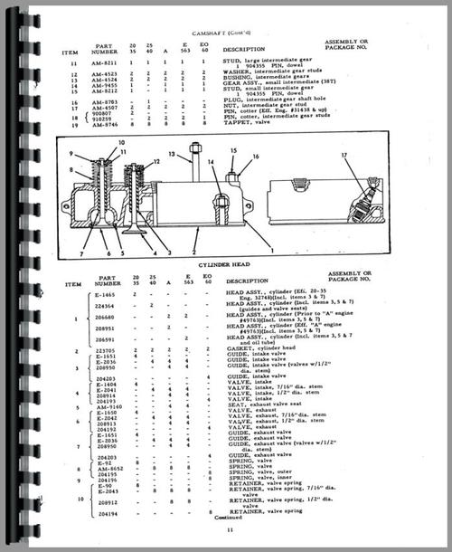 Parts Manual for Allis Chalmers E-563 Power Unit Sample Page From Manual