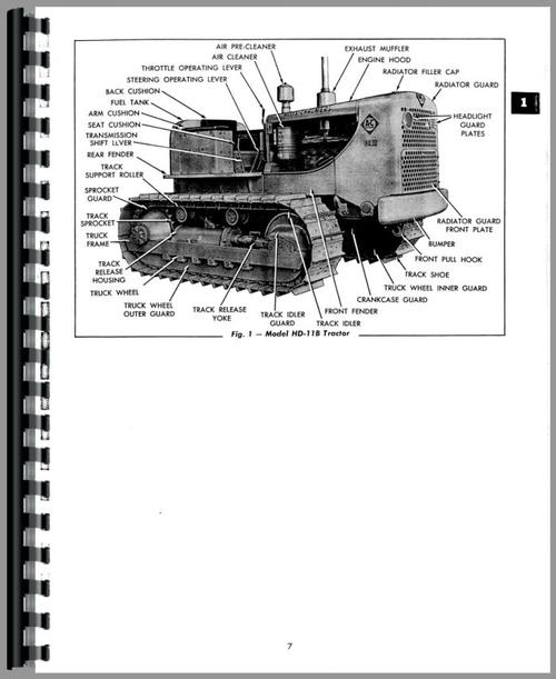 Service Manual for Allis Chalmers HD11AG Crawler Sample Page From Manual