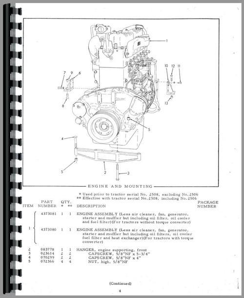 Parts Manual for Allis Chalmers HD16 Crawler Sample Page From Manual