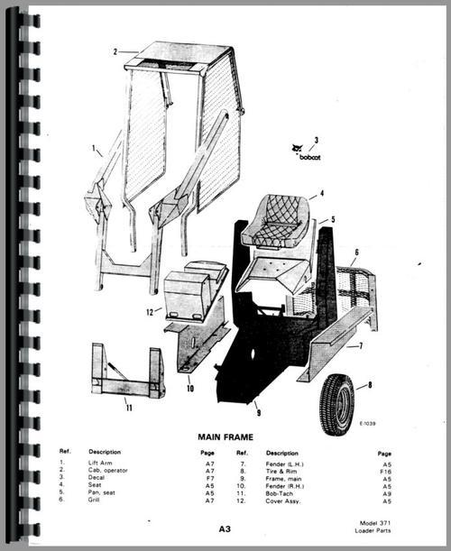 Bobcat M 610 Skid Steer Loader Parts Manual