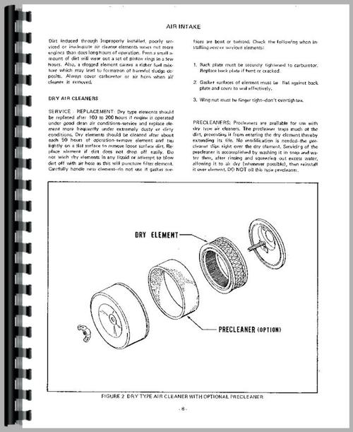 Service Manual for Case 220 Lawn & Garden Tractor Sample Page From Manual