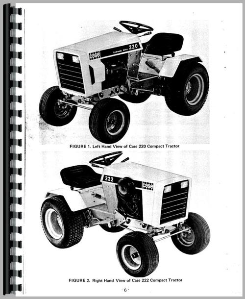 Operators Manual for Case 220 Lawn & Garden Tractor Sample Page From Manual