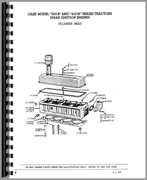 Parts Manual for Case 310B Tractor Sample Page From Manual
