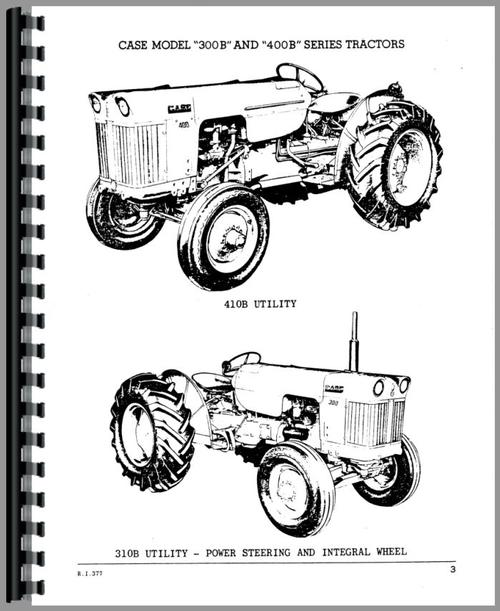 Parts Manual for Case 400B Tractor Sample Page From Manual