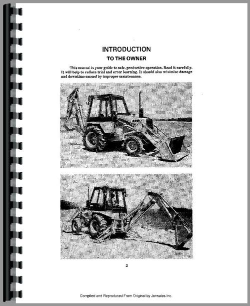 Operators Manual for Case 480C Tractor Loader Backhoe Sample Page From Manual