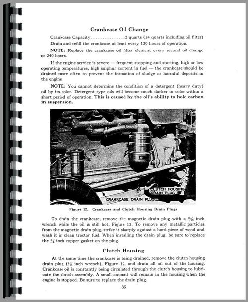 Operators Manual for Case 500 Tractor Sample Page From Manual