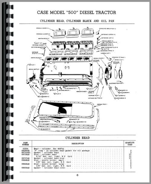 Parts Manual for Case 500 Tractor Sample Page From Manual
