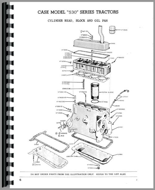 Parts Manual for Case 540C Tractor Sample Page From Manual