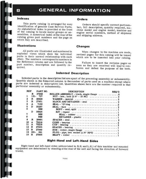 Parts Manual for Case 586C Forklift Sample Page From Manual