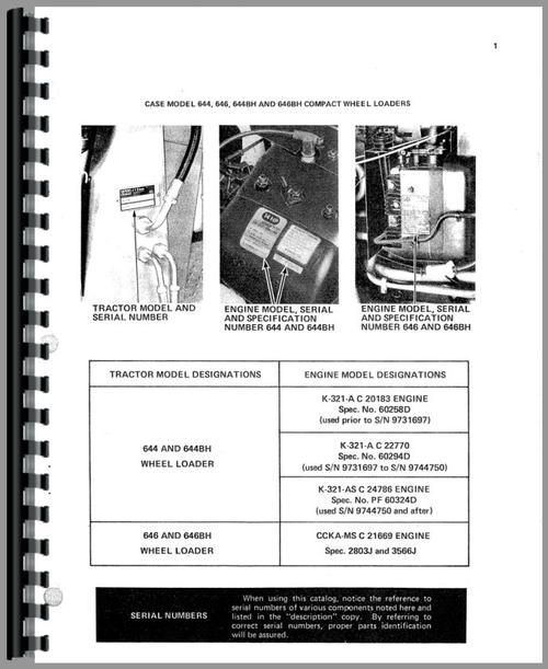 Parts Manual for Case 644 Lawn & Garden Tractor Sample Page From Manual