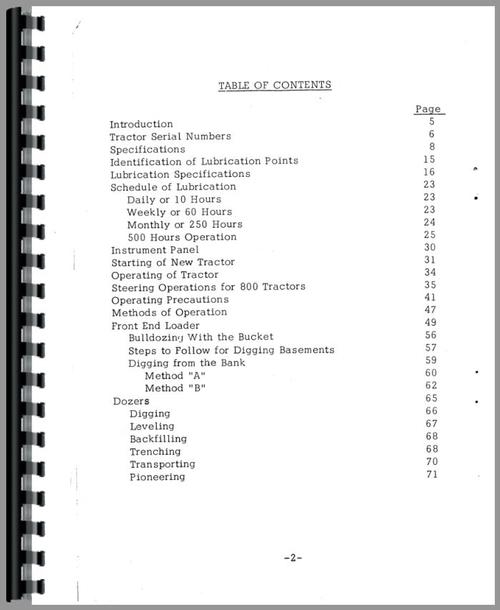 Operators Manual for Case 800 Crawler Sample Page From Manual
