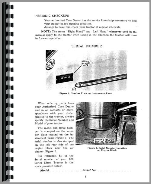 Operators Manual for Case 800B Tractor Sample Page From Manual