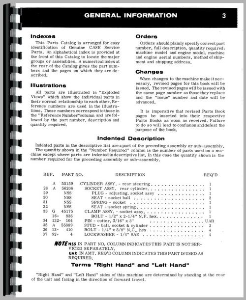 Parts Manual for Case 830 Tractor Sample Page From Manual