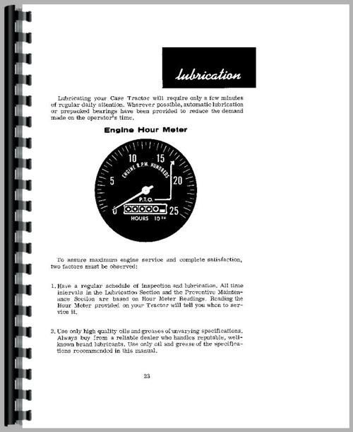 Operators Manual for Case 842 Tractor Sample Page From Manual