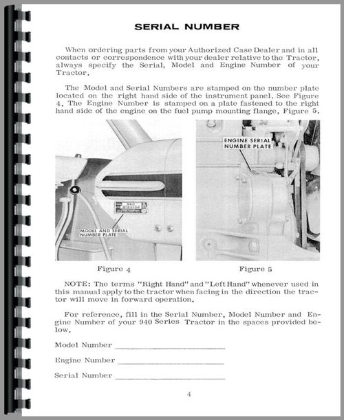 Operators Manual for Case 940 Tractor Sample Page From Manual