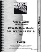 Operators Manual for Caterpillar 14E Grader