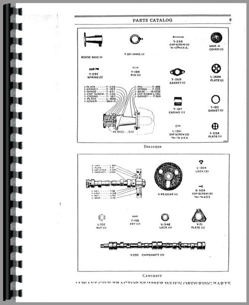 Parts Manual for Caterpillar 20 Crawler Sample Page From Manual