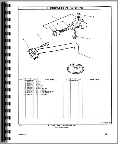 Parts Manual for Caterpillar 416B Tractor Loader Backhoe Sample Page From Manual