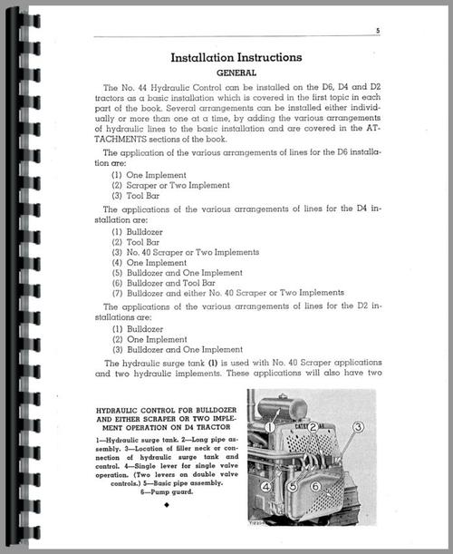 Operators Manual for Caterpillar 44 Hydraulic Control Attachment Sample Page From Manual