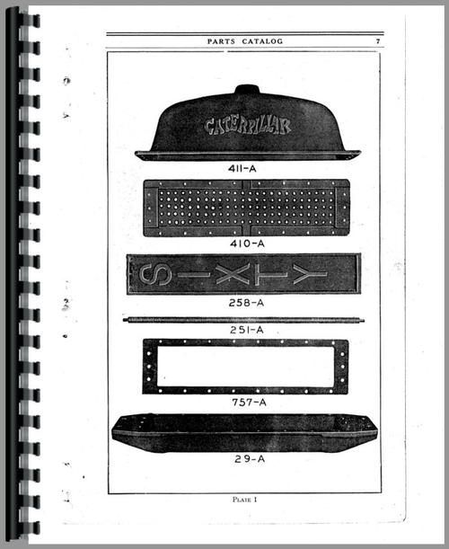 Parts Manual for Caterpillar 60 Scraper Sample Page From Manual